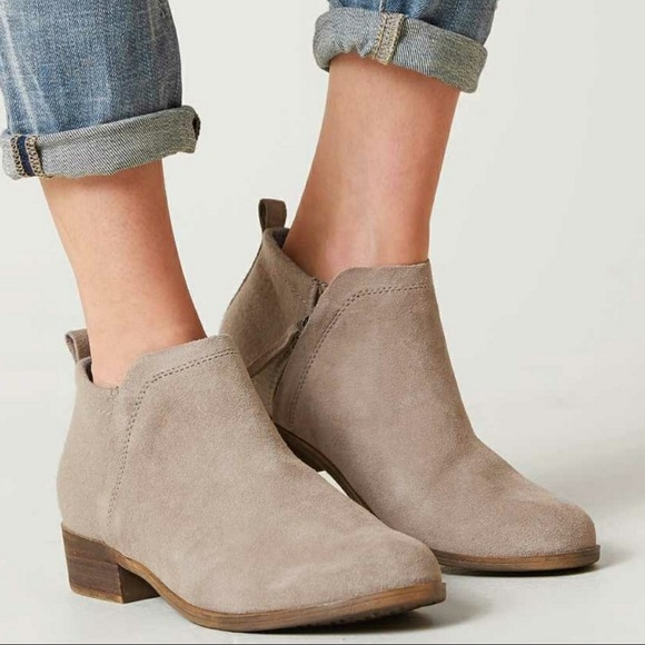 f9a94366a19 Toms Deia Booties Ankle Boots Taupe Suede Shoes. M 5b580c6c0e3b86bd138ae4f4